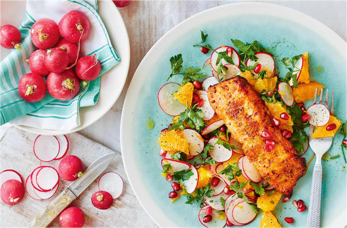 Trout with Orange, Radish, and Pomegranate Salad Recipe